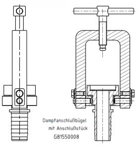 G81550008 Dampfanschlussbügel mit Standardtülle KZ