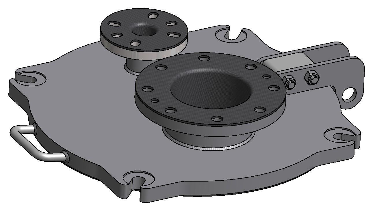 G81300144 gummierter 4K Domdeckel DN500 mit 2 Stutzen 3D