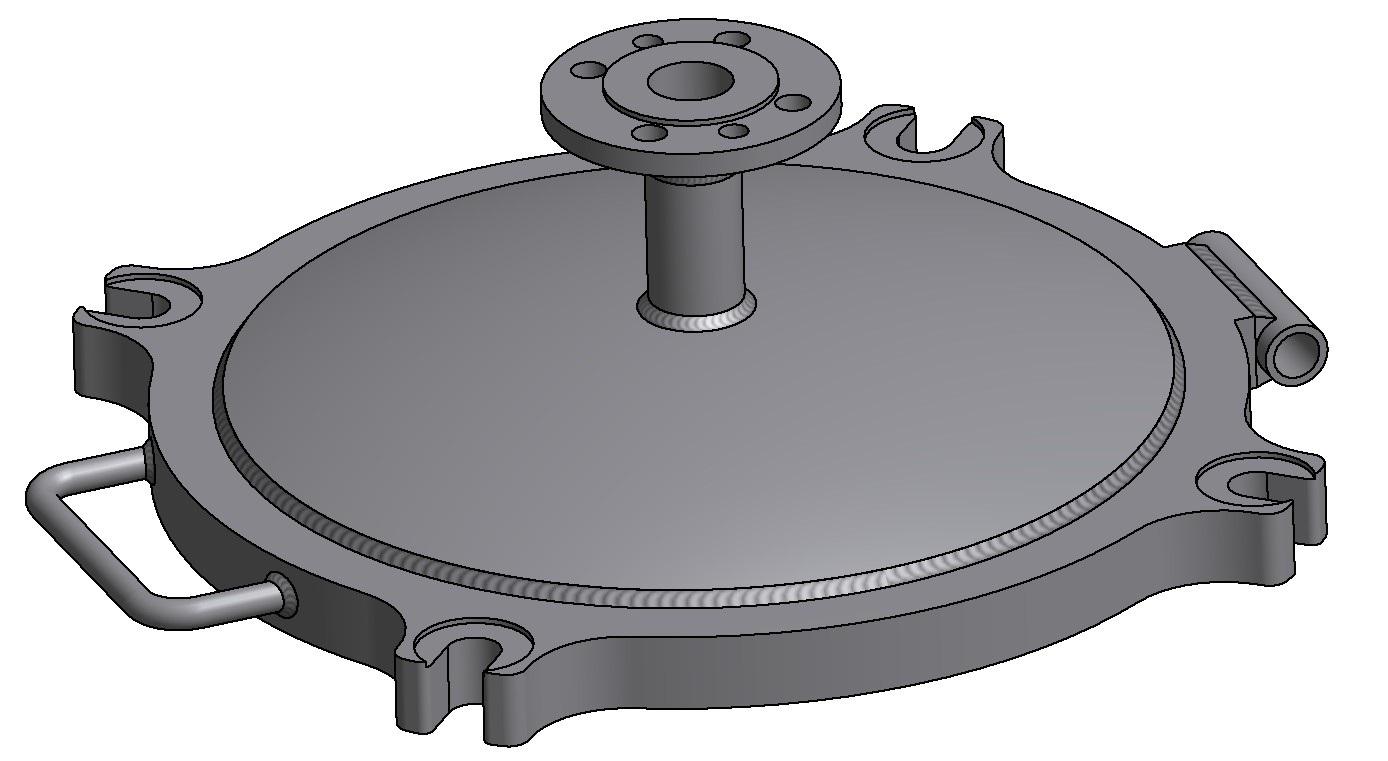 G81300158 4K Domdeckel DN500 mit Druckstutzen DN40 3D