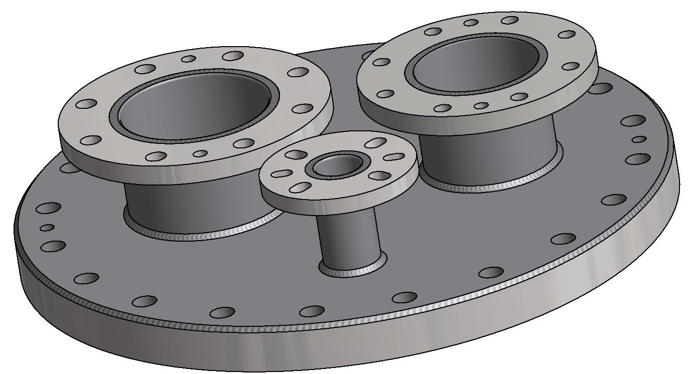G81300168 Domdeckel DN500 mit Spritzring und 3 Stutzen 3D