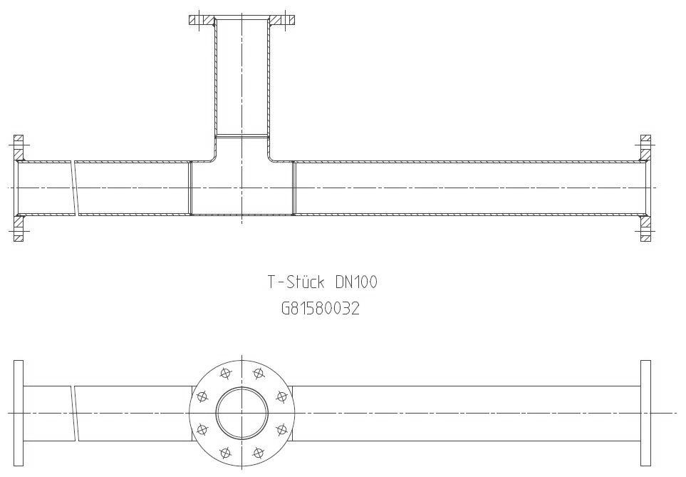 G81580032 T-Stück DN100 KZ