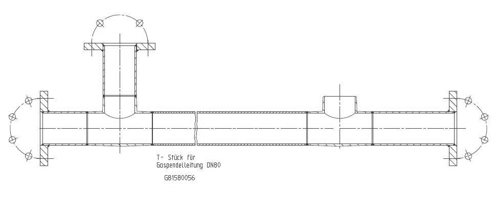 G81580056 T-Stueck DN80 Gaspendelleitung KZ