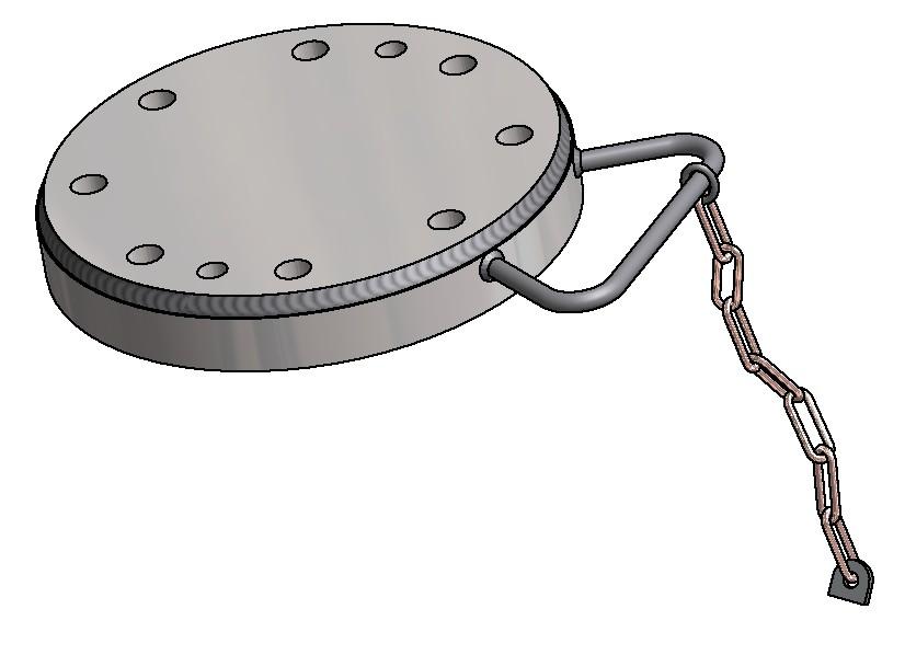 G81600065 Blindflansch DN125 mit Spritzring Handgriff und Kette 3D